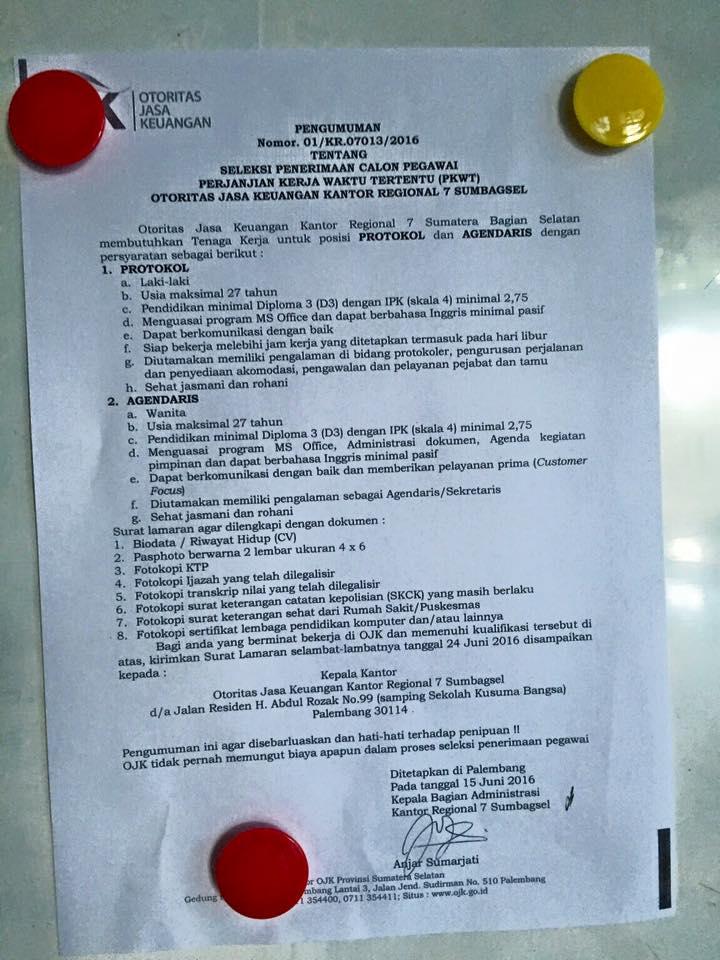 Otoritas Jasa Keuangan - Recruitment D3 PKWT Staff