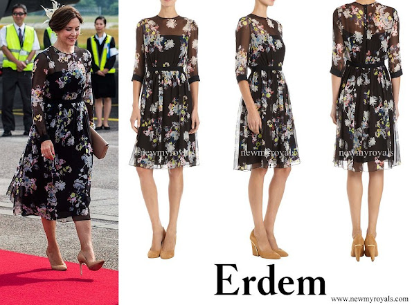 Crown Princess Mary wore Erdem Sheer Overlay Floral Print Dress