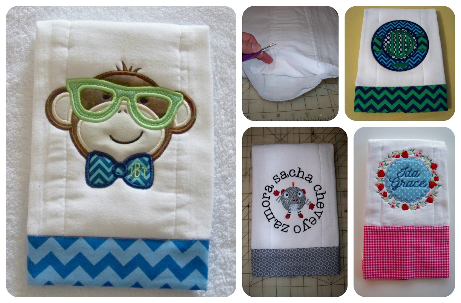 0789fedf6 With Glittering Eyes  Burp Cloth Tutorial  Personalized Baby Project 1