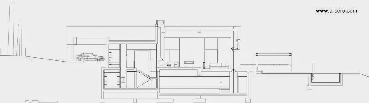 Plano arquitectónico de un corte de la residencia de concreto