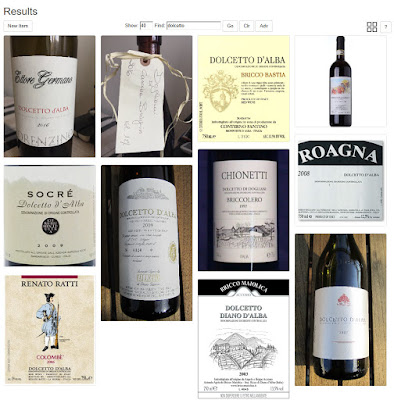Scenario 4 - View of wine labels for type dolcetto.
