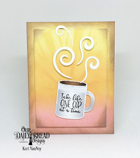 Our Daily Bread Designs Stamp/Die Duos: Hug In A Mug, Custom Dies:  Sunburst Background, Pierced Rectangles, Boho Egg, Cups & Mugs