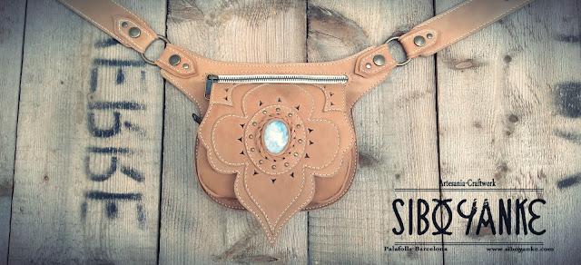 Leather Utility Belt+Festival Belt+Gemstones+Labradorite+Sibo Yanke+Waist Bag