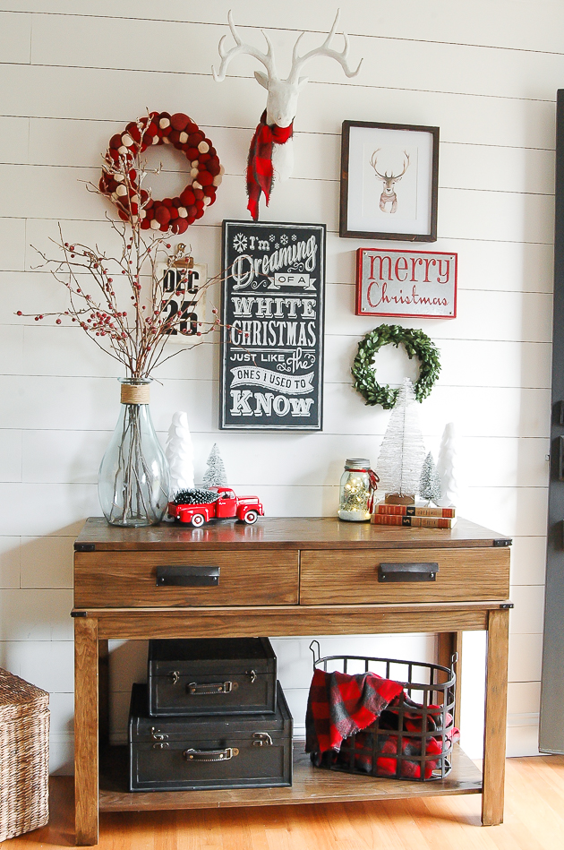 Classic red, white and gray christmas entryway