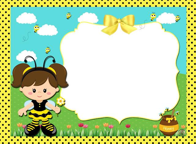 Para hacer invitaciones, tarjetas, marcos de fotos o etiquetas, para imprimir gratis de Nena Disfrazada de Abejita.