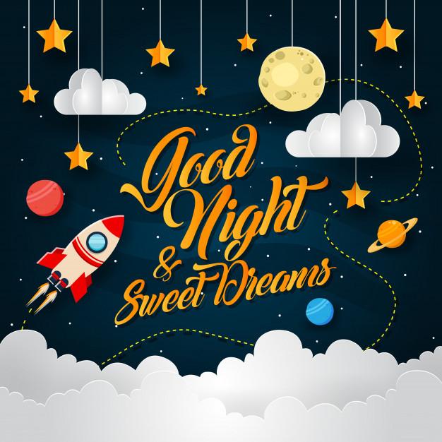 Space Adventure Paper Art Good Night Card Illustration Free Vector