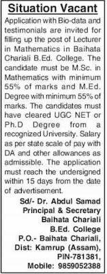 Baihata Chariali B.Ed. College Recruitment