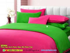 Sprei Custom Polos Dan Garis Polos Hijau Mix Polos Pink