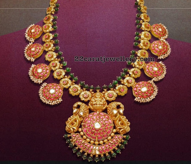 Floral Kundan Set with Peacock Pendant