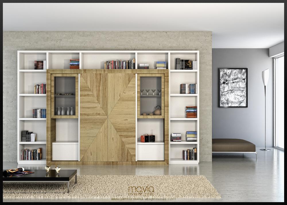 Arredamento di interni modello 3d e rendering 3d pareti for Mobili pareti attrezzate moderne