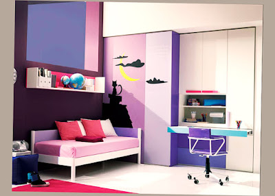 Cute Teenage Bedroom Ideas With Computer Desktop Table and Chair Purple Color Photo 007