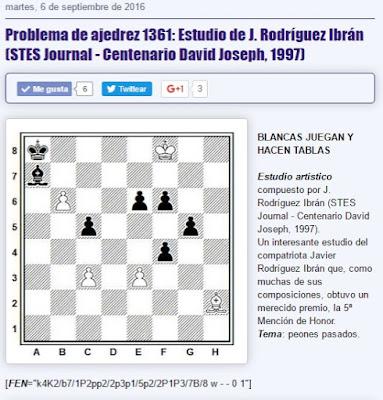 Estudio de ajedrez de J. Rodríguez Ibrán, STES Journal, 1997
