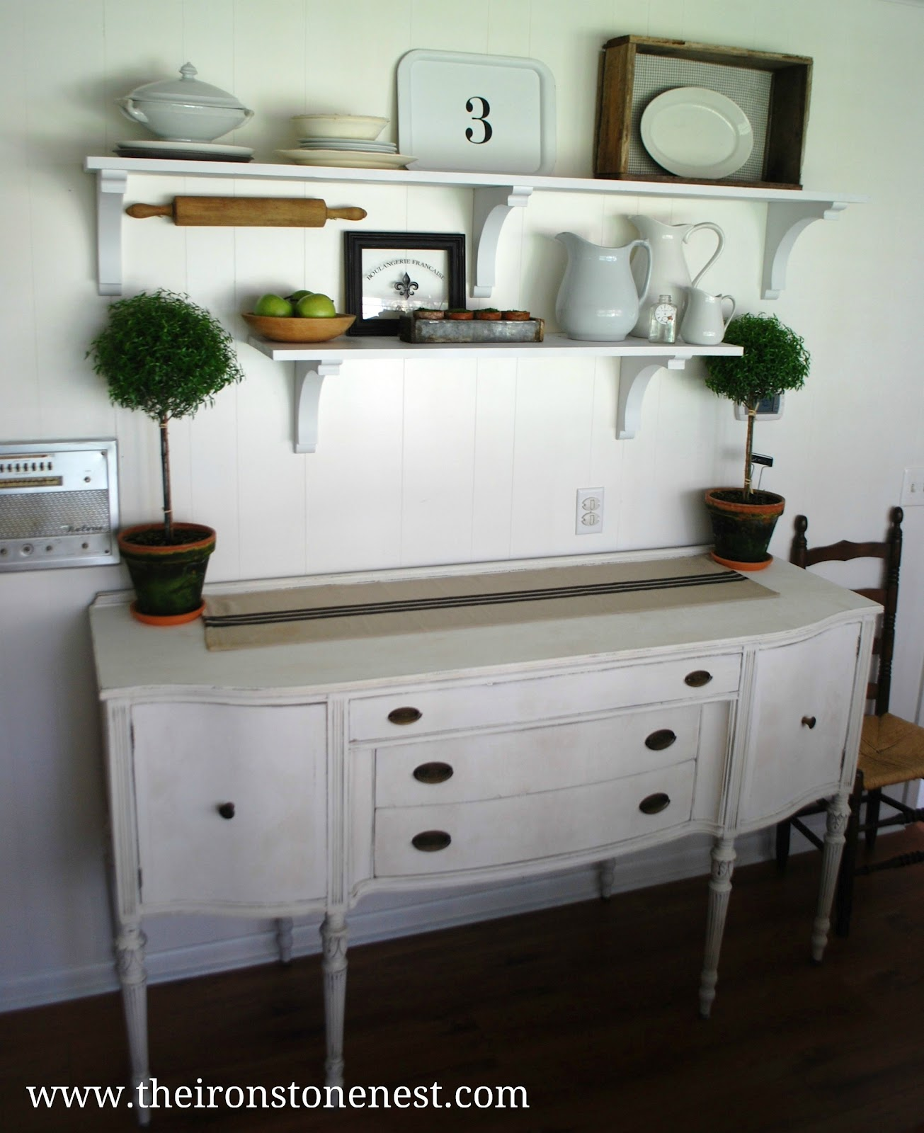 Shelves In Dining Room: Open Shelves & A Freshly Painted Buffet