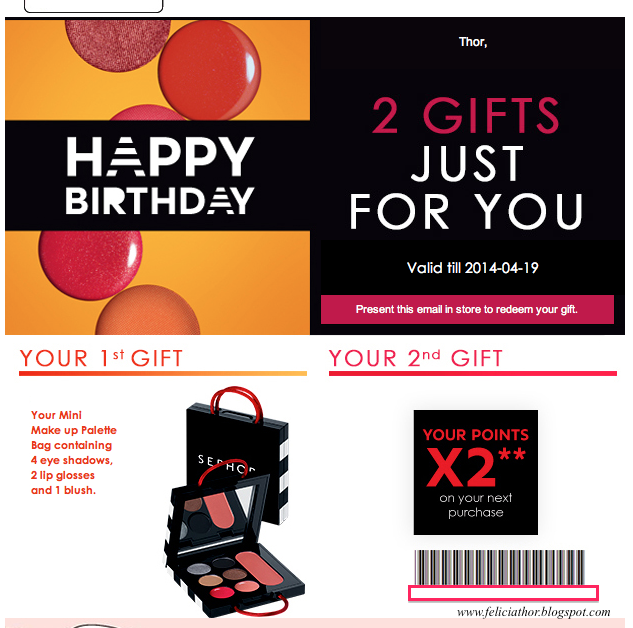Anyway Im Going To Share With You My Birthday Gift Surprise From Sephora This Year Will Receive A E Mail Redeem Your