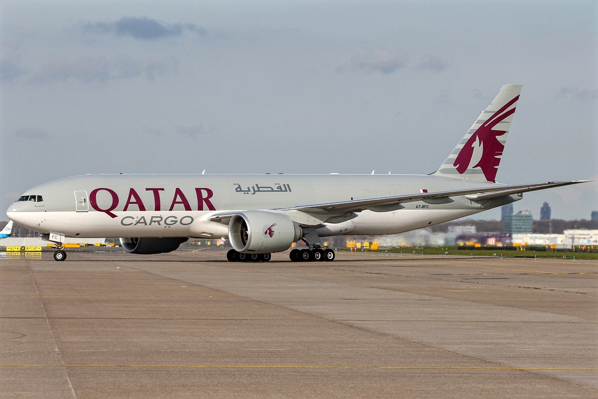 Qatar Airways Boeing 777F Freighter A7-BFC While Taxiing Runway