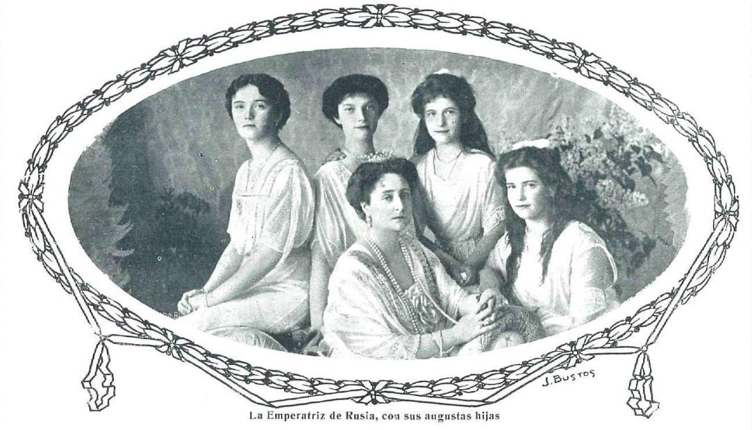 La zarina Alejandra Romanova y sus hijas en un fotografía publicada en 1915