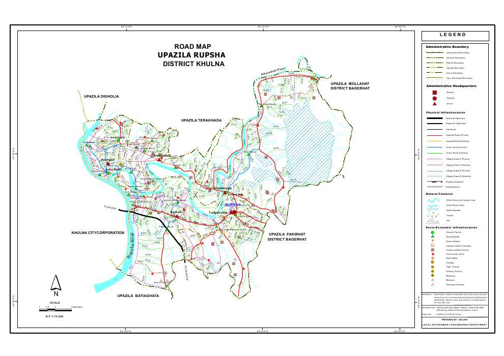 Rupsa Upazila Road Map Khulna District Bangladesh