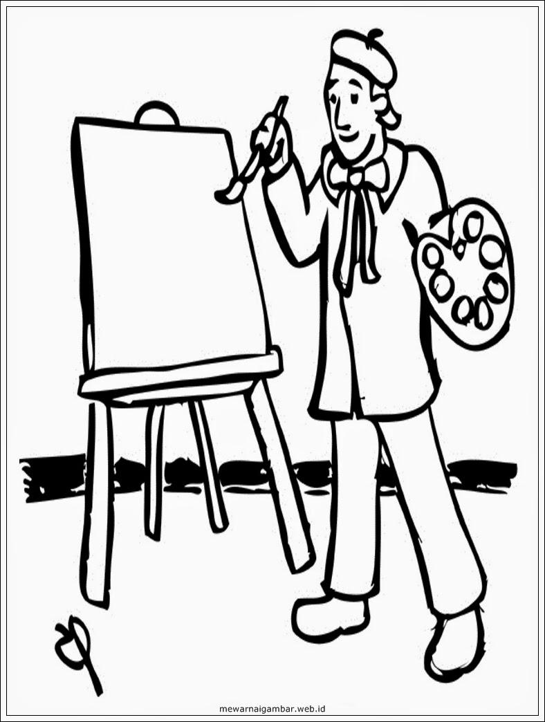 mewarnai gambar orang melukis mewarnai gambar pelukis