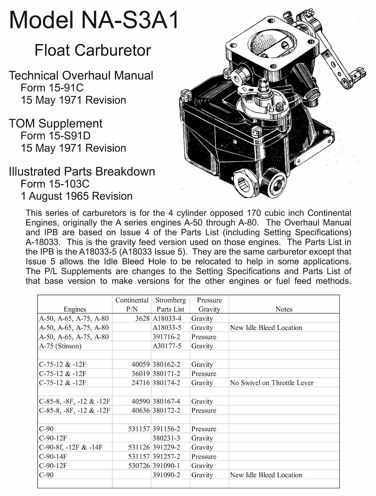 When I started working on the Carburetor I got out my NA-S3A1 manuals and  looked up the carb. part number only to find I didn't have a spec sheet for  P/N ...