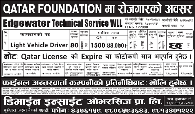 Jobs For Nepali In Qatar Salary- Rs.44,070/