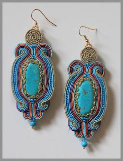 Sutaszowe kolczyki z turkmenitami 2 – Soutage earings with turquoises 2