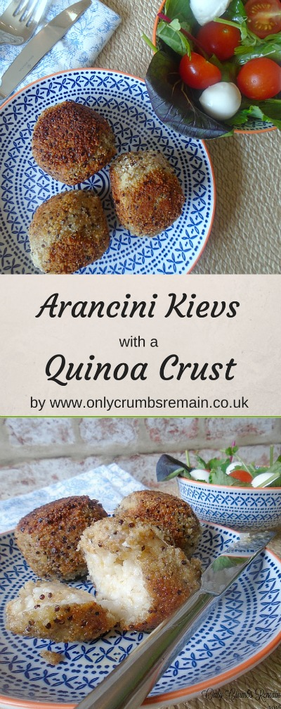 These arancini (risotto balls) not only make a delicious vegetarian lunch but also make great use of left over risotto.  This are filled with a garlic butter and have a crisp quinoa crust.