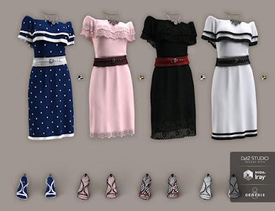 dForce Off The Shoulder Dress Textures