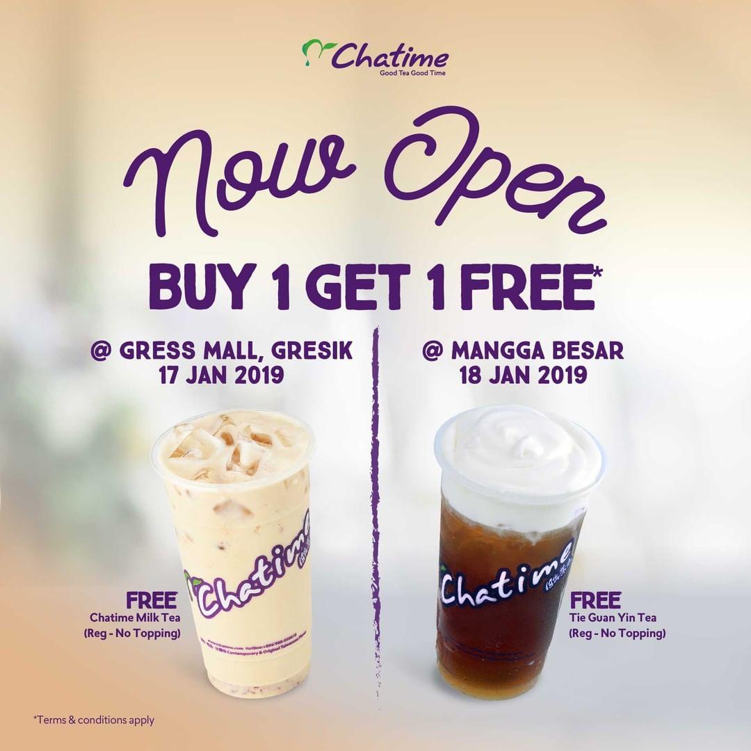 #Chatime - Promo Opening Buy 1 Get 1 Free Gresik atau Free Merchandise Medan