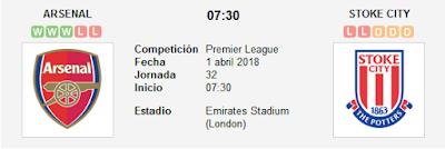 Arsenal vs Stoke City en VIVO