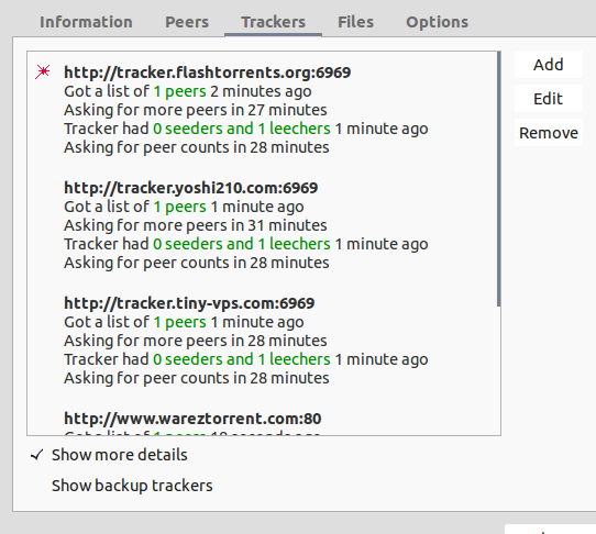Torrent trackers working example