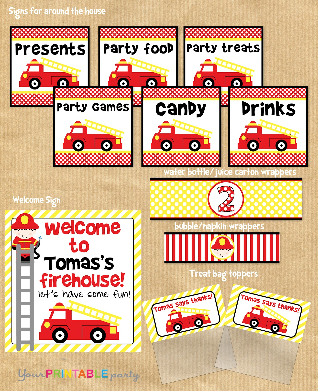 Your Printable Party Super Cute Firetruck Printable Party