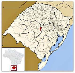 Cidade de Agudo, no mapa do Rio Grande do Sul