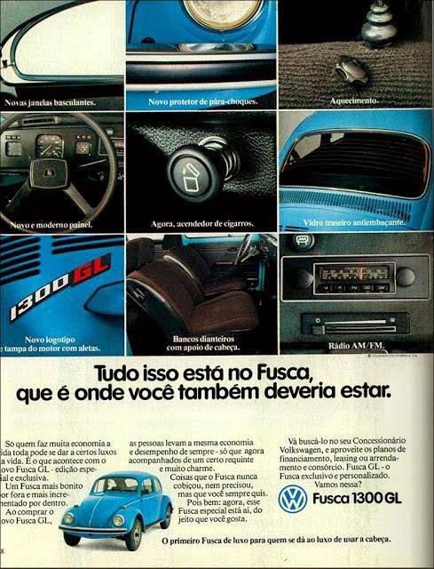 Propaganda antiga da Volkswagen apresentando o Fusca GL em 1981