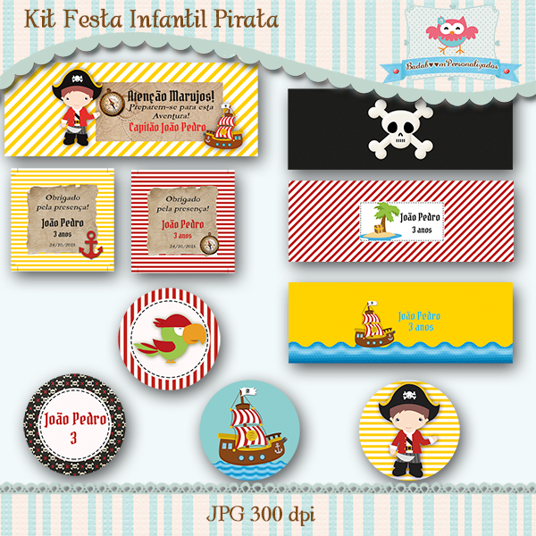 festa infantil, pirata, arte digital, kit digital, personalizados, facebook, caixa acrilica topper, rótulos, tags