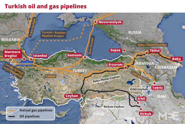 Image Attribute: Turkey's Oil and Natural Gas Pipelines / Source: The Middle East Eye