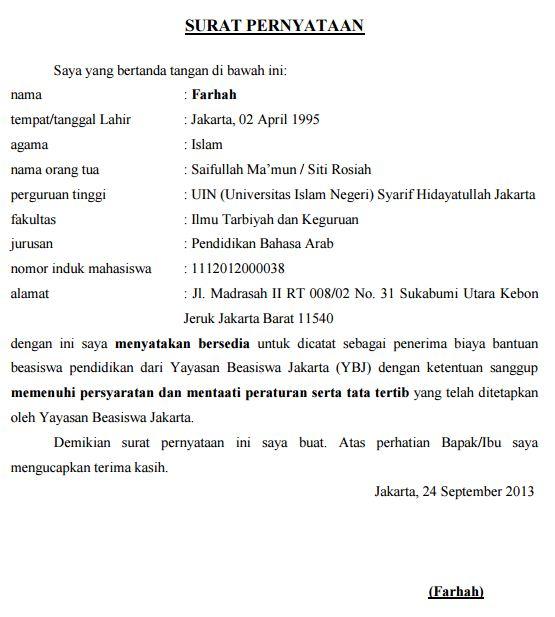 Contoh Surat Pernyataan Kesanggupan Menaati Peraturan Beasiswa Mahasiswa Kuliah
