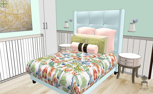Cottage interior, pale mint walls, cottage bedroom, modern cottage, wood ceiling, bead board wall, floral chair