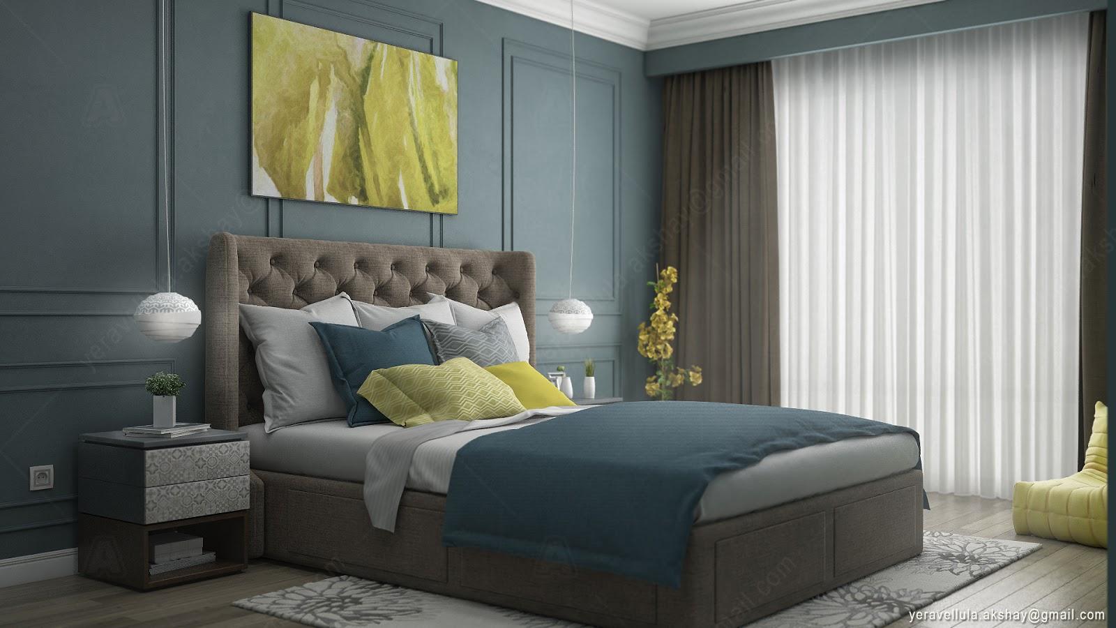 bedroom lemon accent