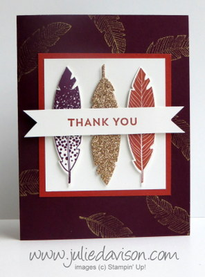 Stampin' Up! Four Feathers Thank You Card #stampinup www.juliedavison.com