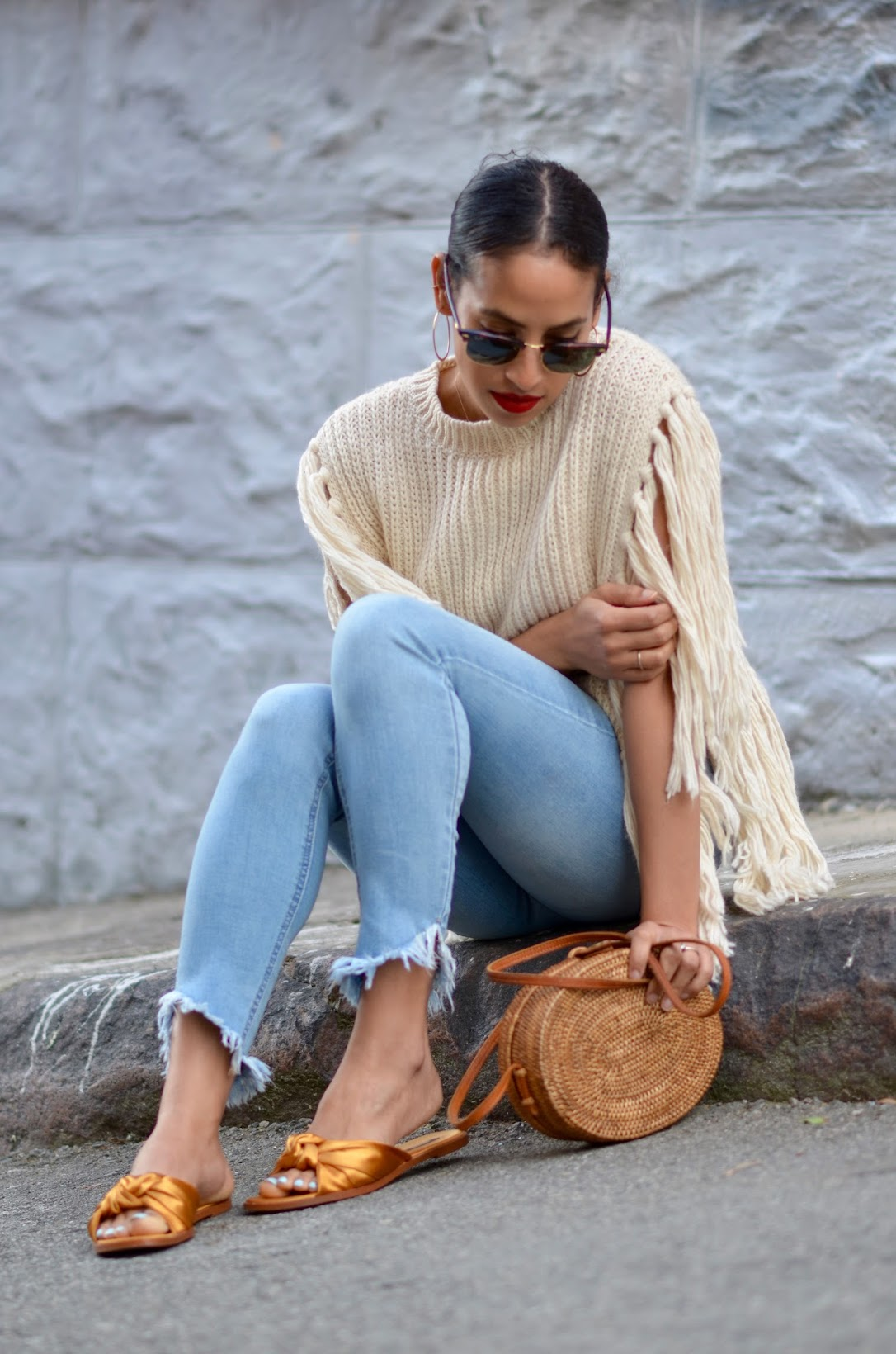 fringe sweater, asos fringe sweater, round basket bag, straw bag from Bali, fringe denim, satin marigold slides, how to wear red lips,
