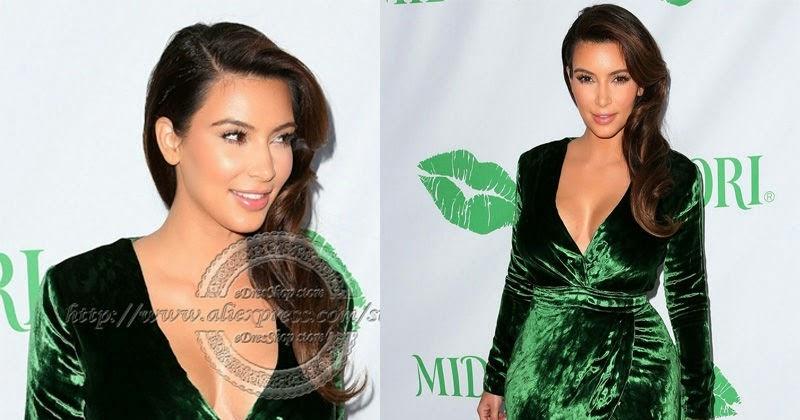 12da867ed1a1 Hot Fashion Pictures: Kim-Kardashian-2013-New-V-Neck-Long-Sleeves -Green-Velvet-short-Cocktail-Celebrity-Dress