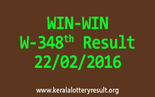 WIN WIN W 348 Lottery Result 22-02-2016