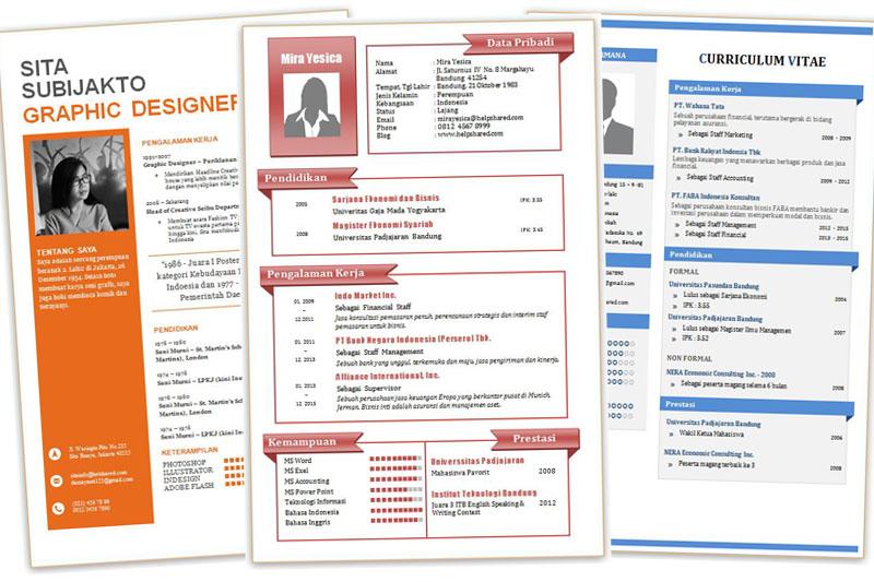 contoh curriculum vitae pppb