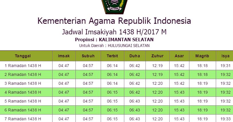Jadwal Imsakiyah Hulu Sungai Selatan 2017 Hari Ini