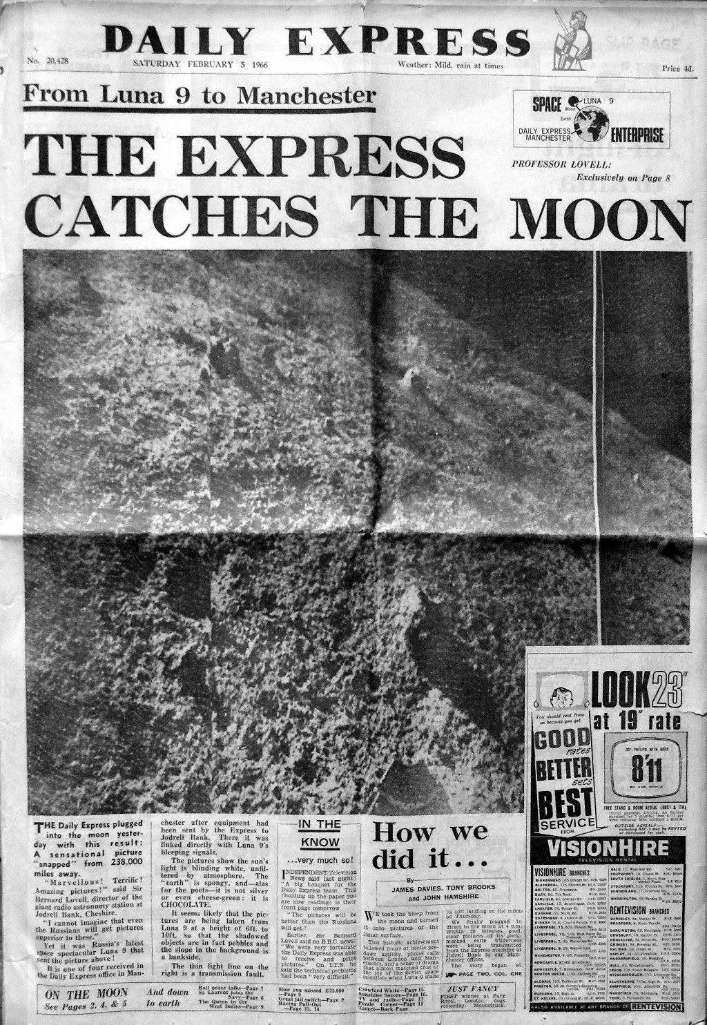 Prima pagina del Daily Express con le foto lunari scattate da Luna 9.