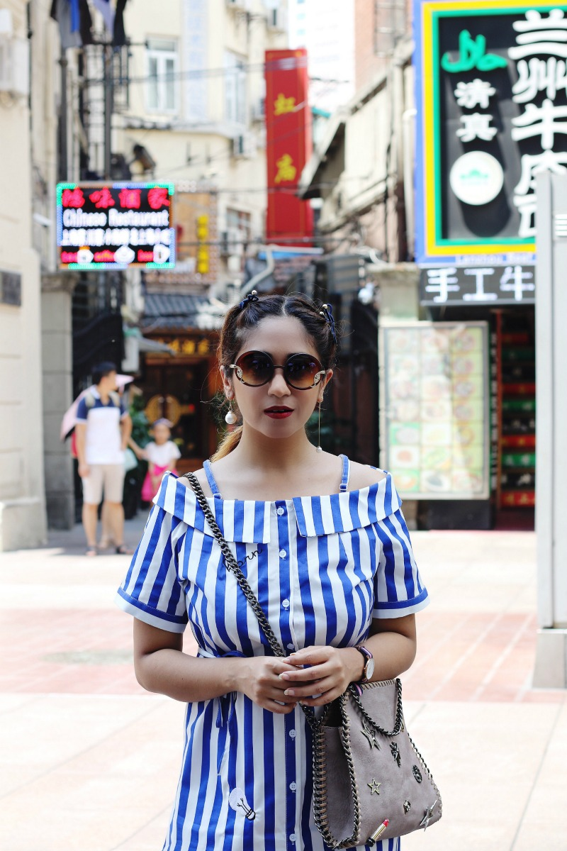 Off Shoulder Striped dress - OOTD - Buy Online dress at koovs, amazon, asos, travel outfit stella bag