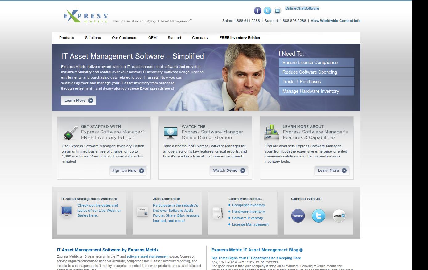 Express Metrix é uma solução de inventário com versão gratuita (até 1000 nós) que permite controlar o uso de software, licenças, data de compra