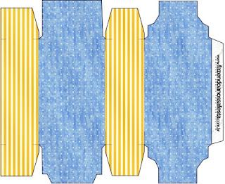Cajas de Corona Dorada en Azul y Amarillo para imprimir gratis.