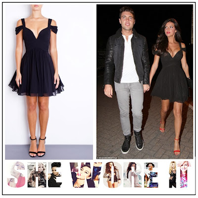 Black, Forever Unique, Lucy Mecklenburgh, Mini Dress, Off Shoulder Straps. TOWIE, Pleated, Prom Style, Sweetheart Neckline, The Only Way Is Essex, Vegas,