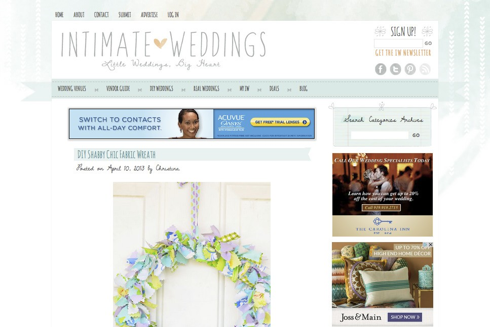 The color choices for the Intimate Weddings blog complement the site's content